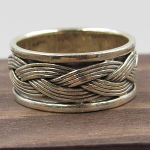 Size 7.75 Sterling Silver Rustic Braided Band Ring